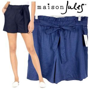 NWT Maison Jules Paperbag High Waisted Blue Shorts